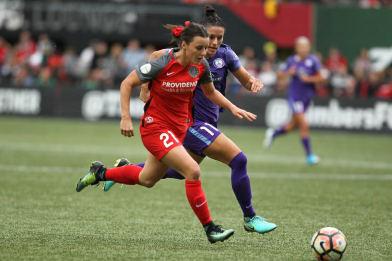 Hayley Raso in action for Portland Thorns in the NWSL.
