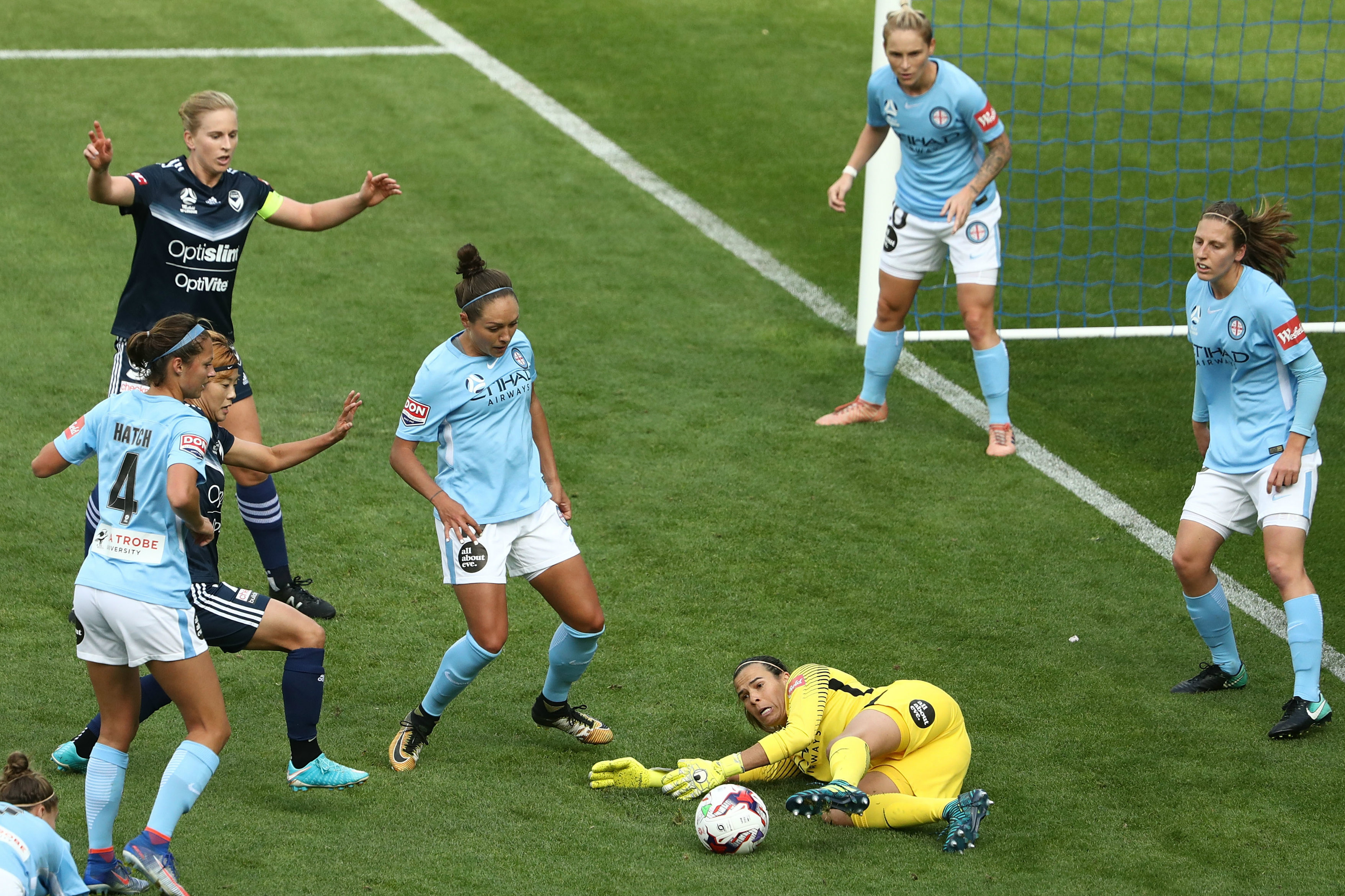 Lydia Williams makes a key save in the Melbourne Derby.