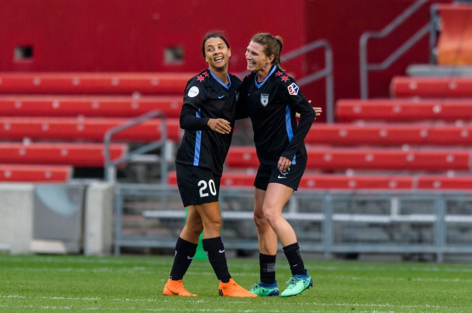 Sam Kerr celebrates for Chicago Red Stars (photo courtesy of @chiredstarsPR)