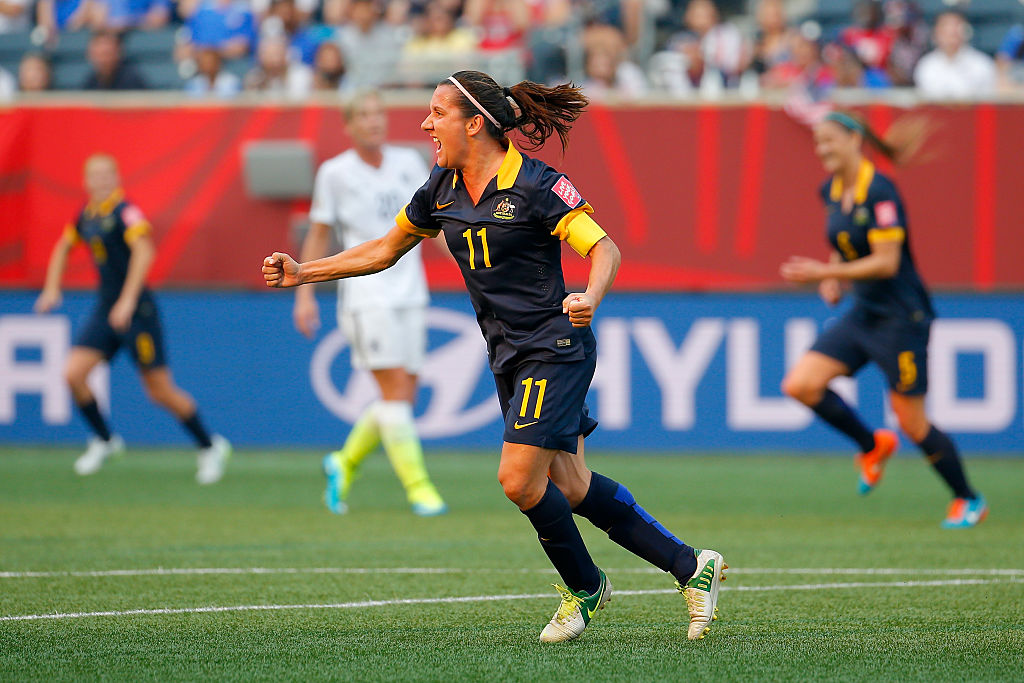Lisa De Vanna celebrates a goal at the 2015 FIFA Women's World Cup against USA