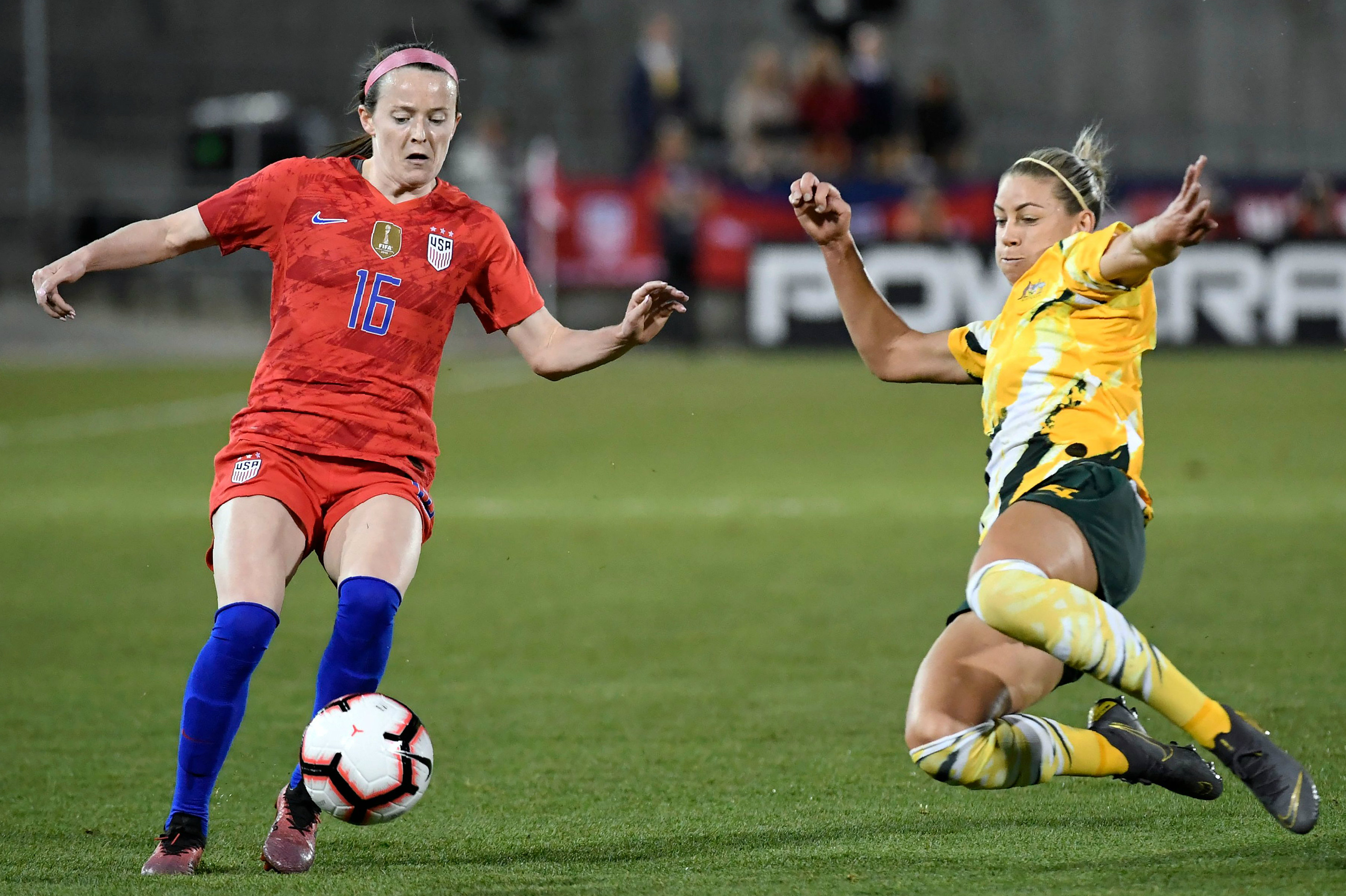 Alanna Kennedy makes a brilliant tackle against the USA on Friday