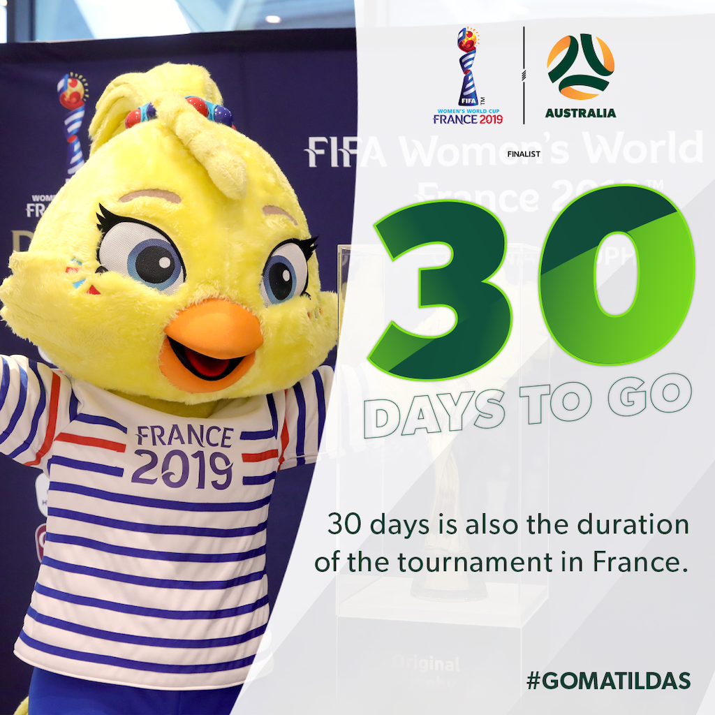 30 days to go for FIFA Women's World Cup France 2019 resized
