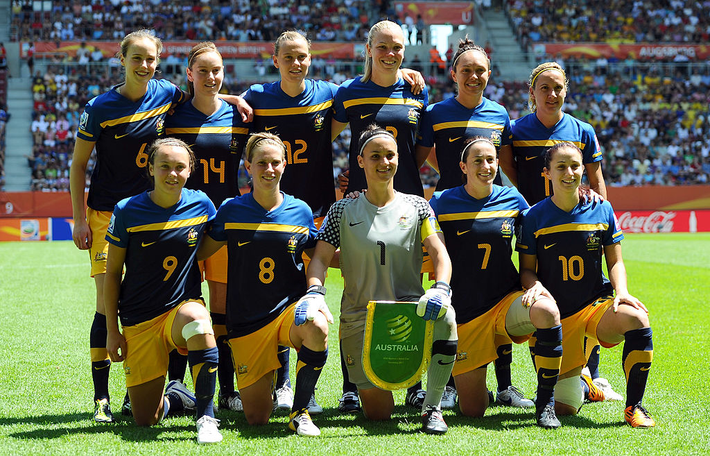 Australia line up against Sweden at the 2011 Women's World Cup