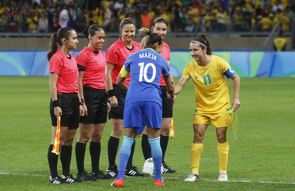 Matildas captain Lisa De Vanna shakes hands with Brazil's Marta at the Rio 2016 Olympic Games