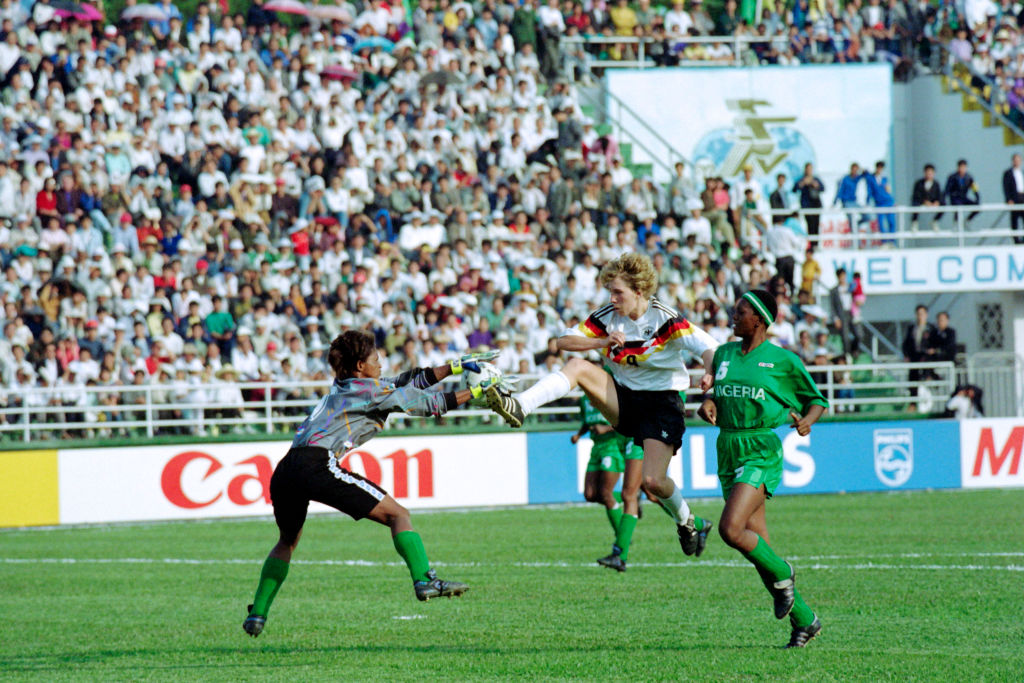 Germany take on Nigeria at 1991 Women's World Cup