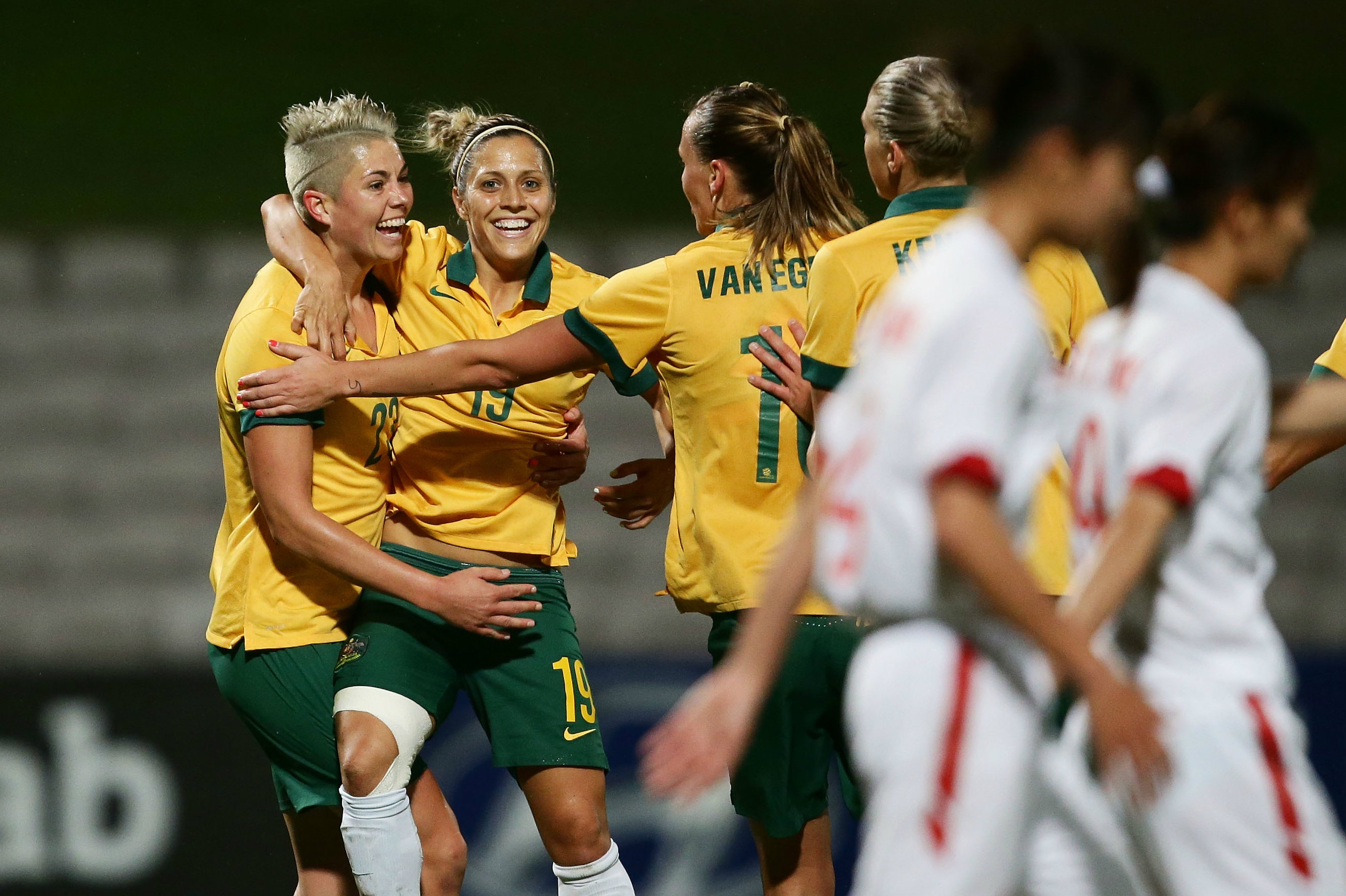Michelle Heyman embraces Katrina Gorry after a goal for the Westfield Matildas