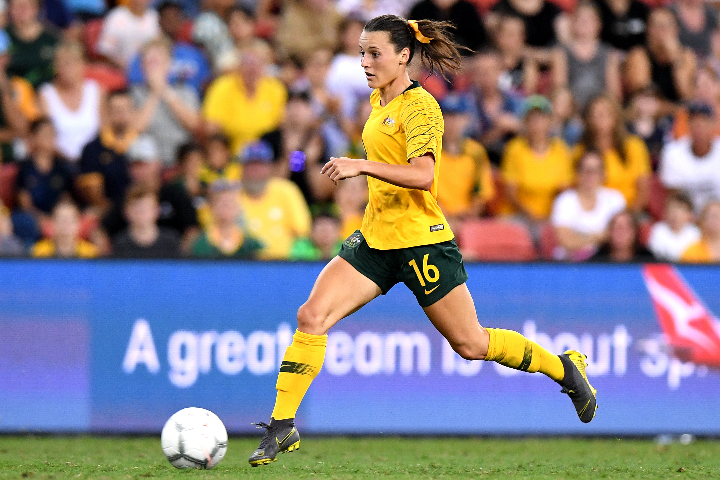 Hayley Raso on the ball for the Westfield Matildas during this year's Cup of Nation's Tournament