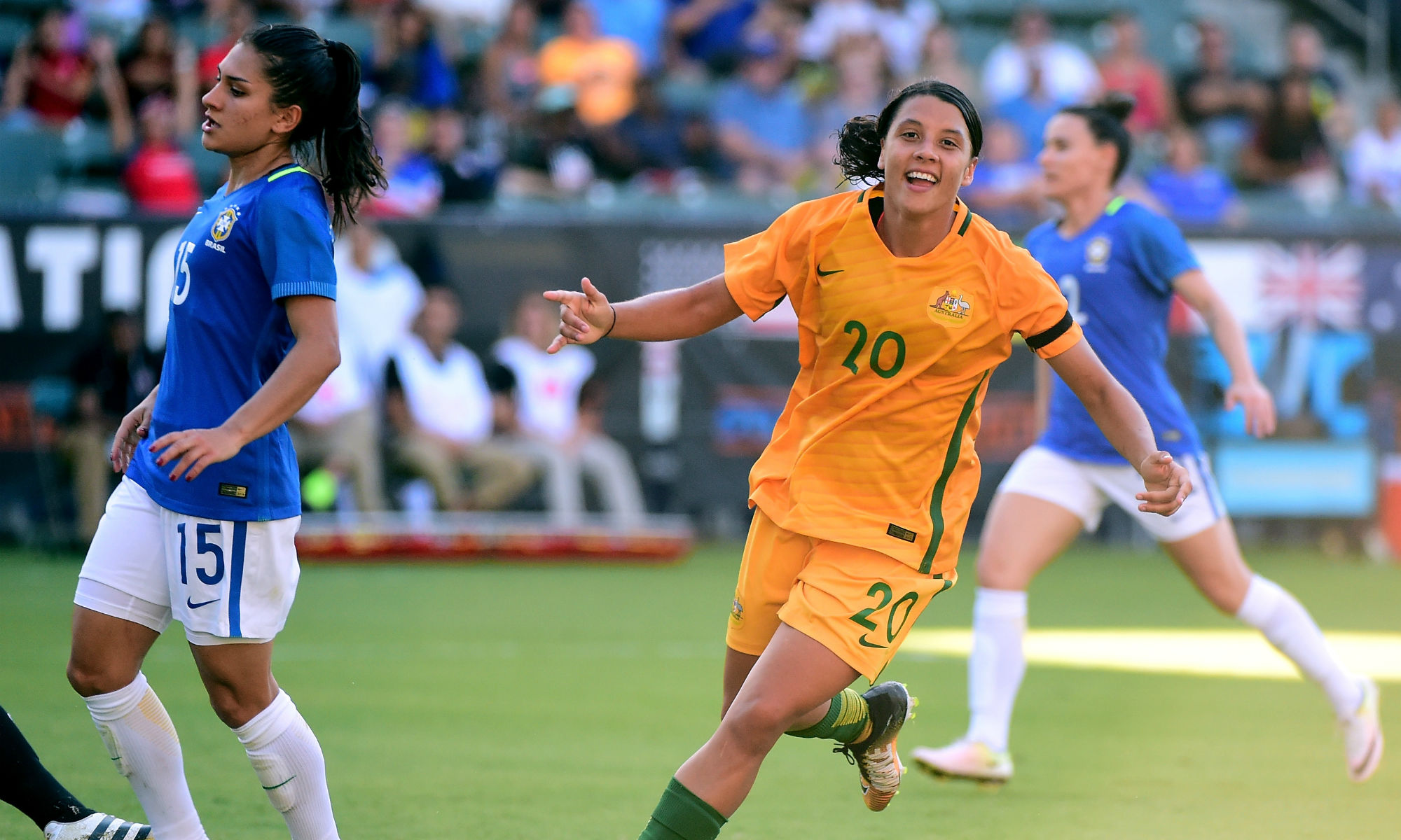 Sam Kerr puts the Matildas 3-1 up against Brazil in the 2018 Tournament of Nations