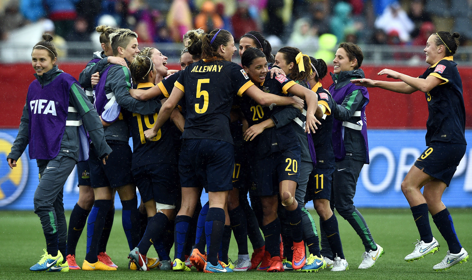 The Matildas celebrate advancing to the semi-finals after beating Brazil at FIFA Women's World Cup Canada 2015​​
