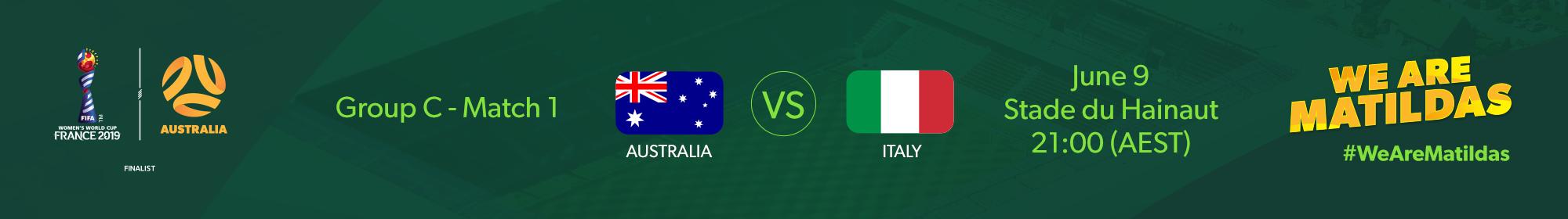 Matildas v Italy Fixture