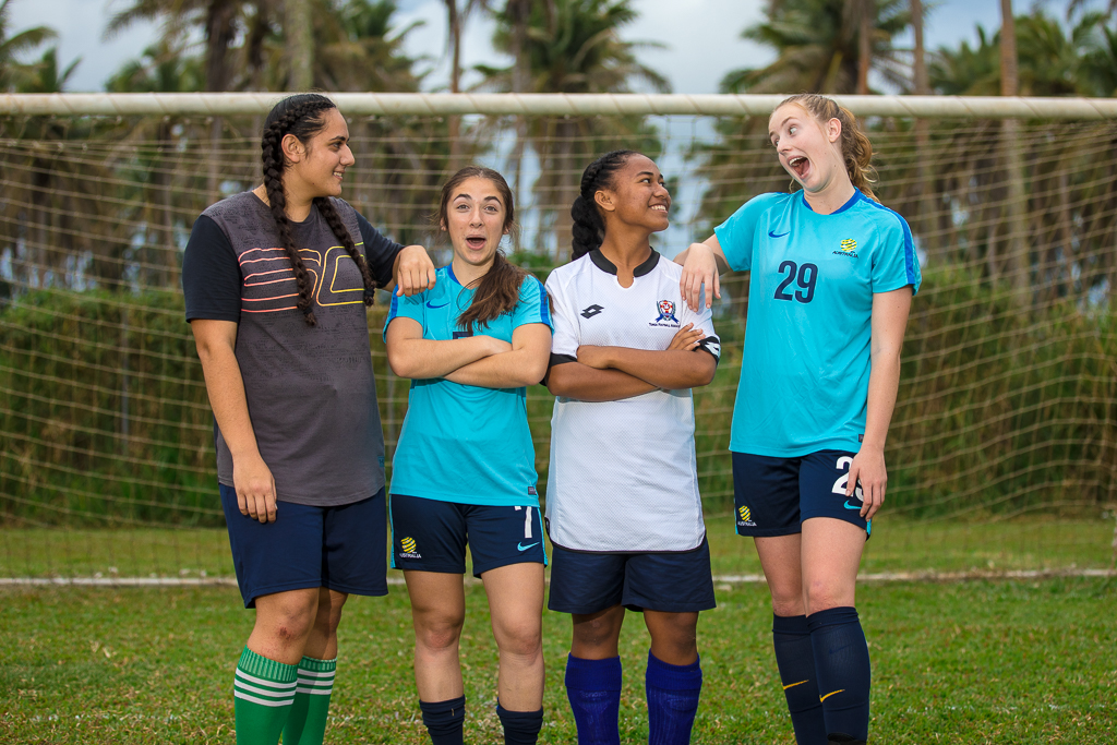 Westfield Junior Matildas hold unique joint training session with Tonga's U-19 team