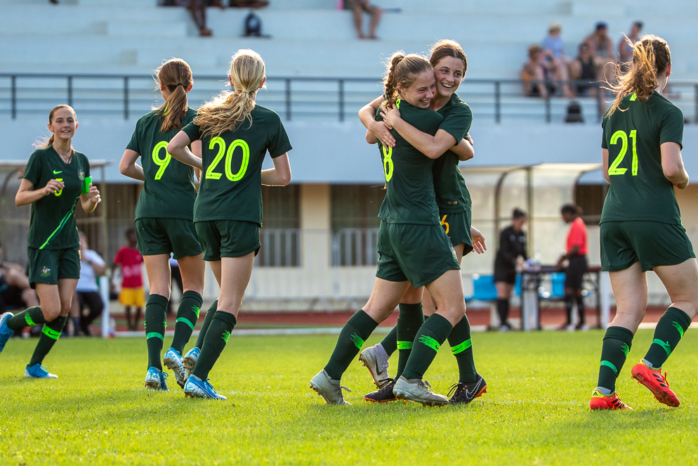 The Junior Matildas celebrate a goal at the recent Pacific Step-Up Tour (pic by Joseph Mayers)