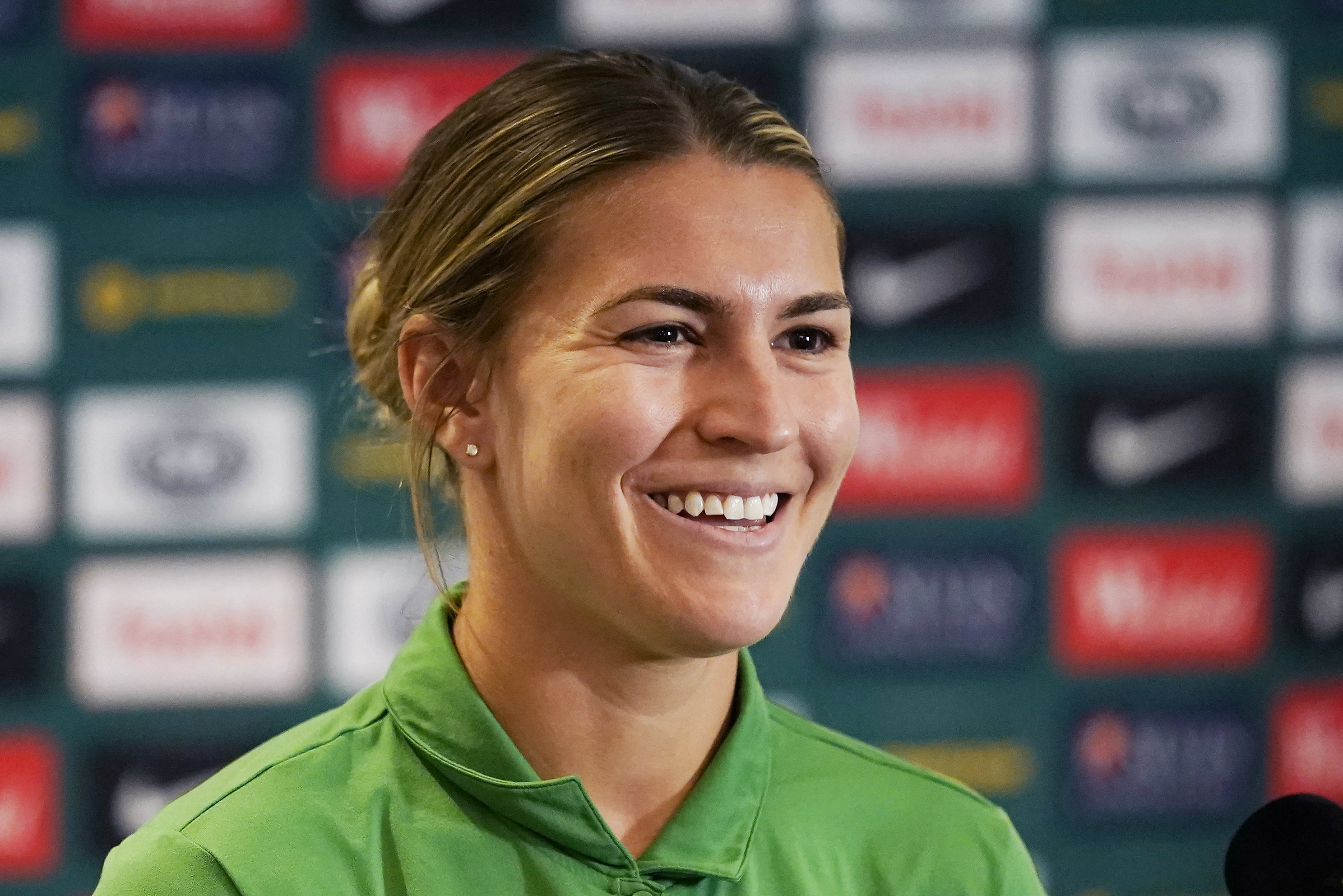 Steph Catley speaks to reporters in Sydney on Tuesday
