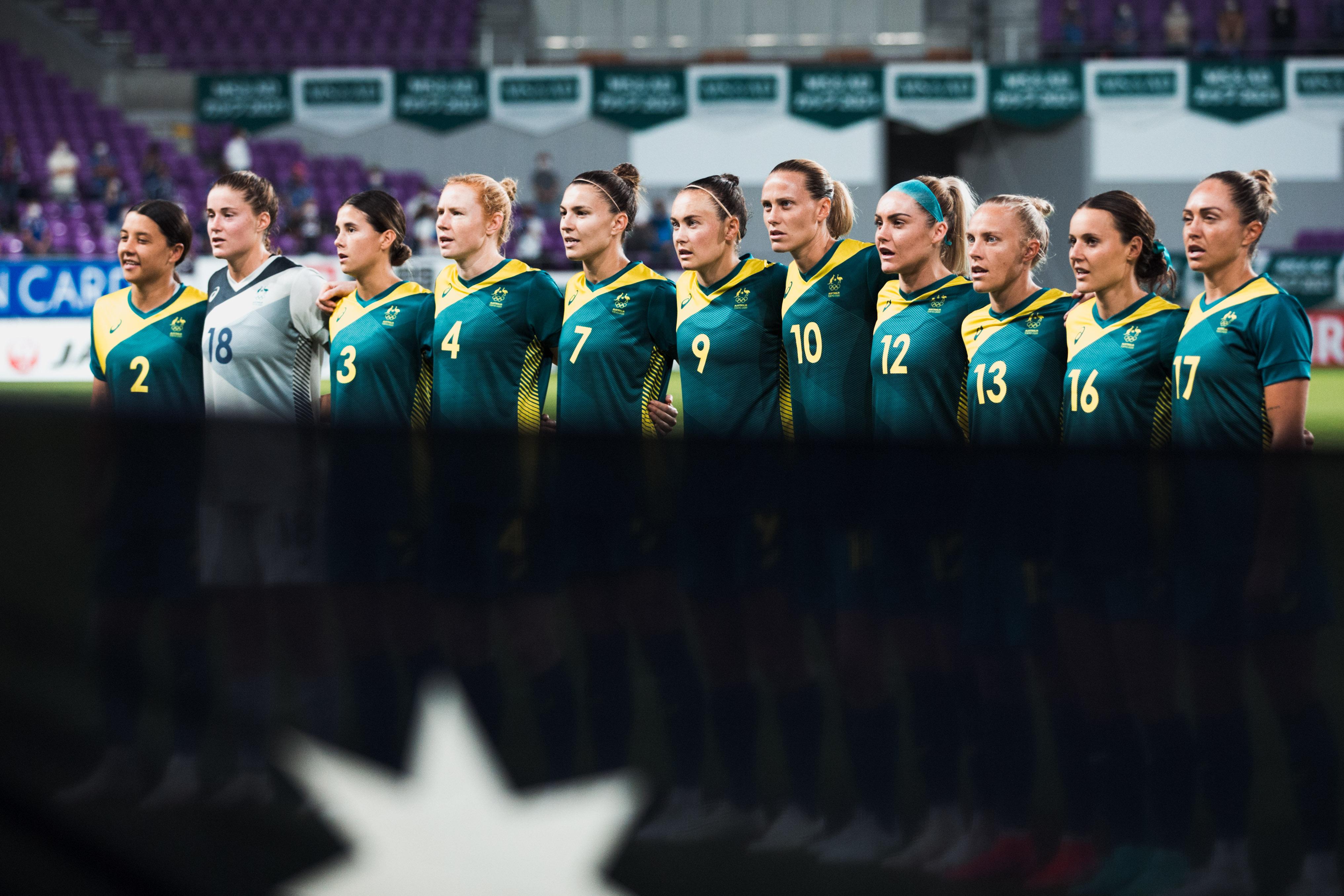 Matildas lining up to sing National Anthem, July 2021