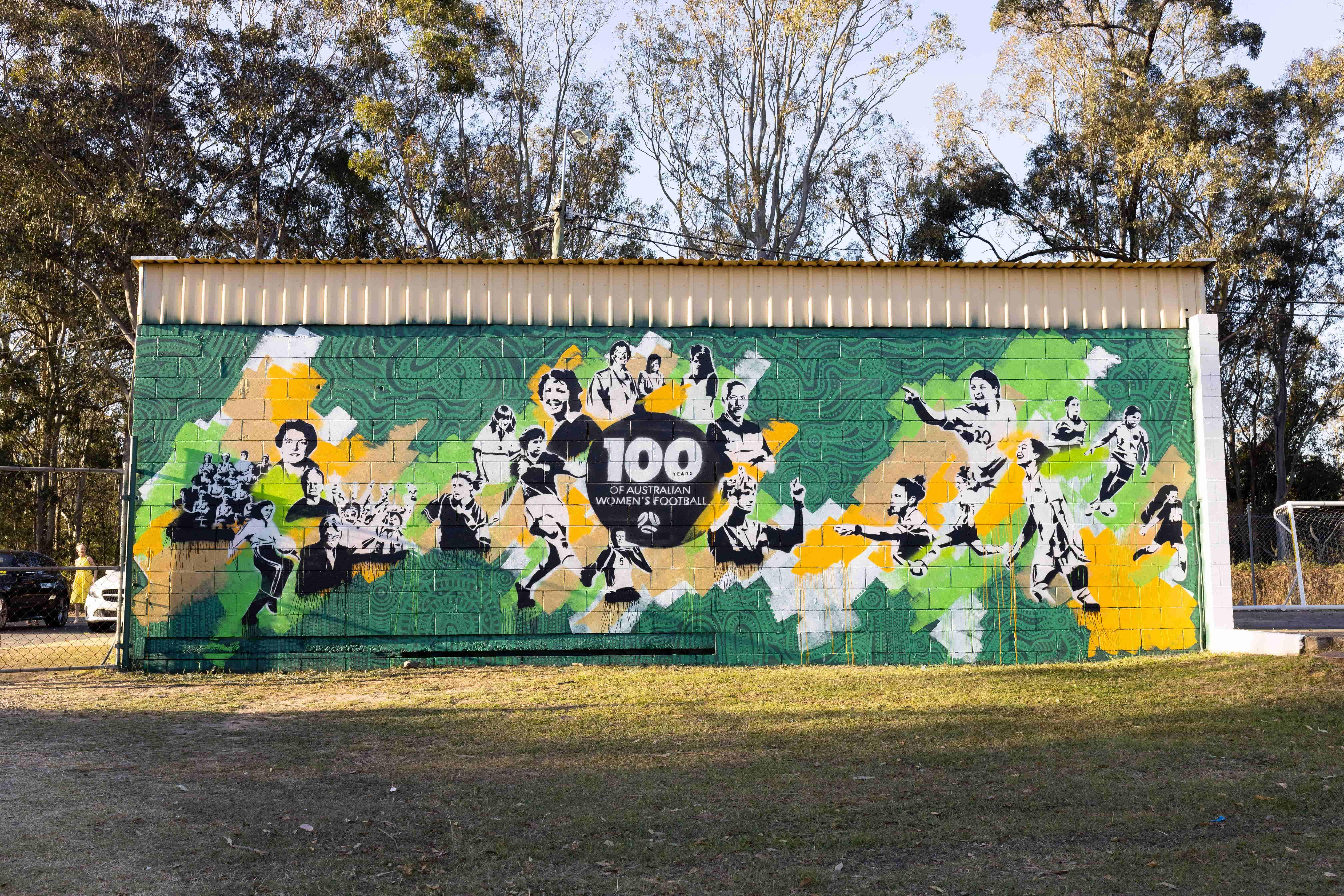 100 years of women's football wall mural