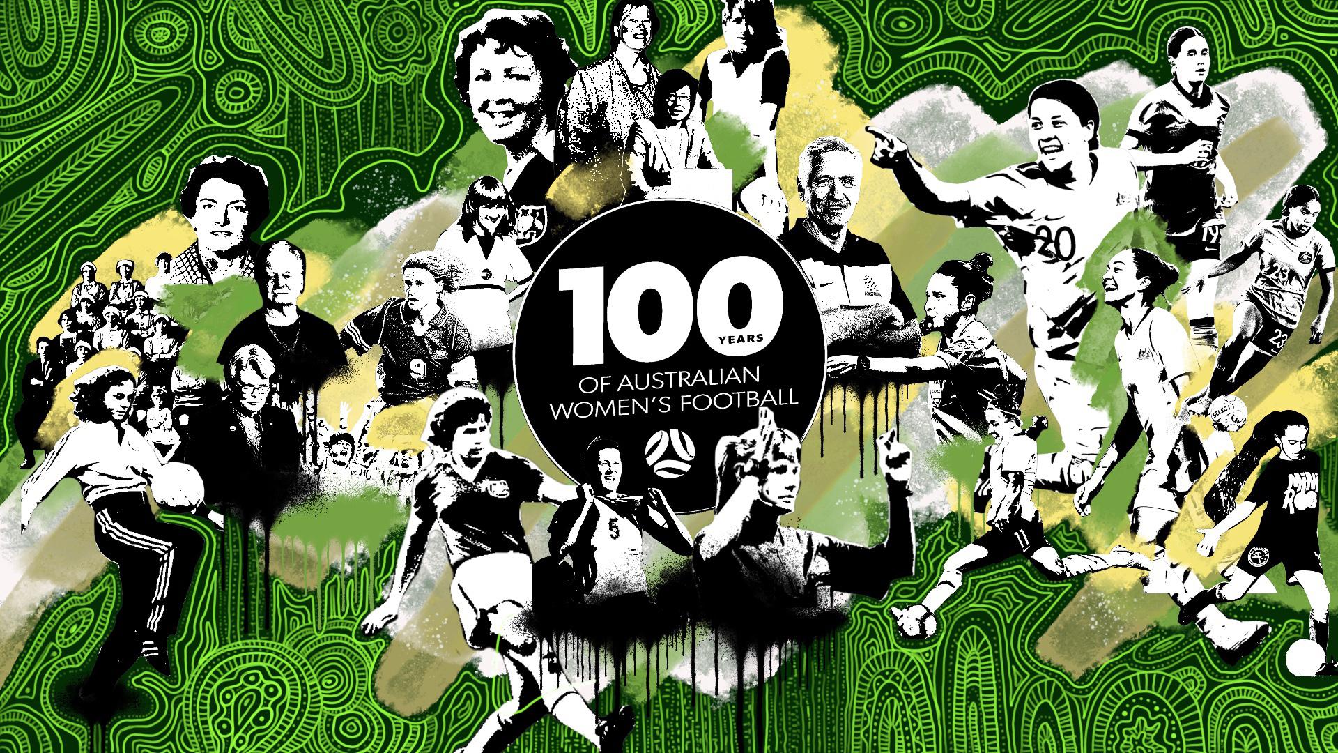100 years of women's football digital wall mural