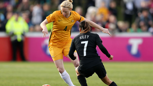Clare Polkinhorne on the ball against New Zealand in a friendly last month.