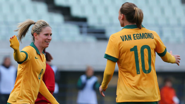 Westfield Matildas Elise Kellond-Knight and Emily van Egmond celebrate scoring against Vietnam.