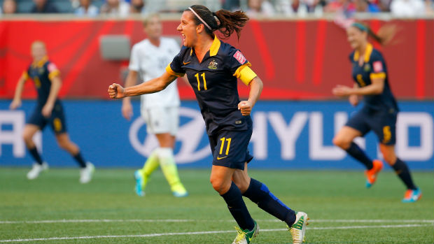 Westfield Matildas co-captain Lisa De Vanna celebrates scoring against the USA at the Women's World Cup.