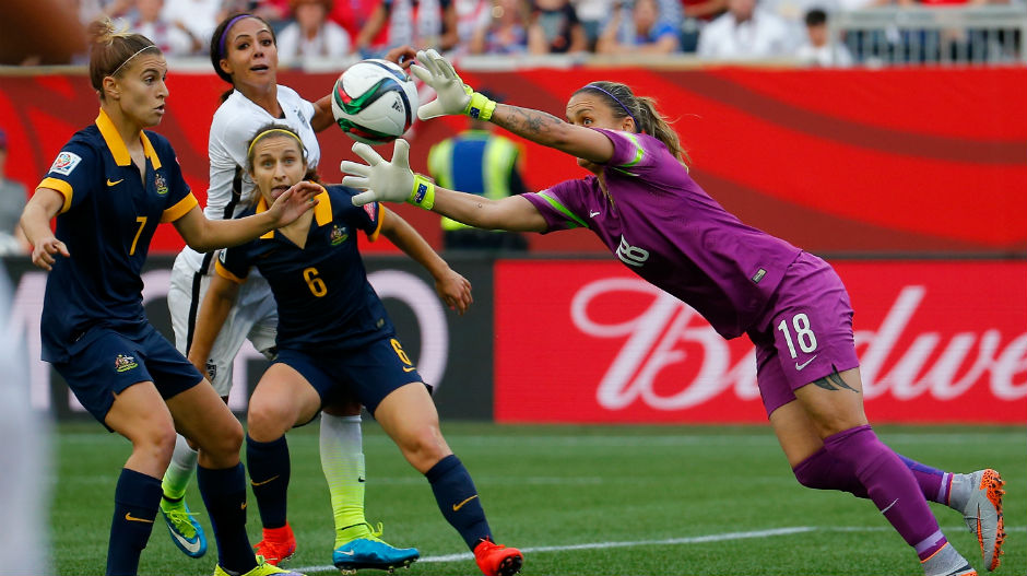 Goalkeeper Melissa Barbieri makes a second-half save to deny USA.