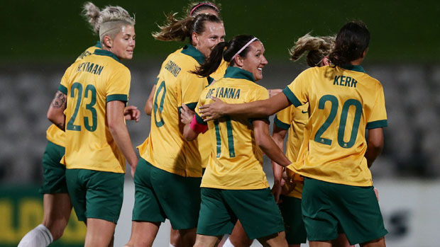 Matildas players celebrate a goal during their 11-0 win over Vietnam.