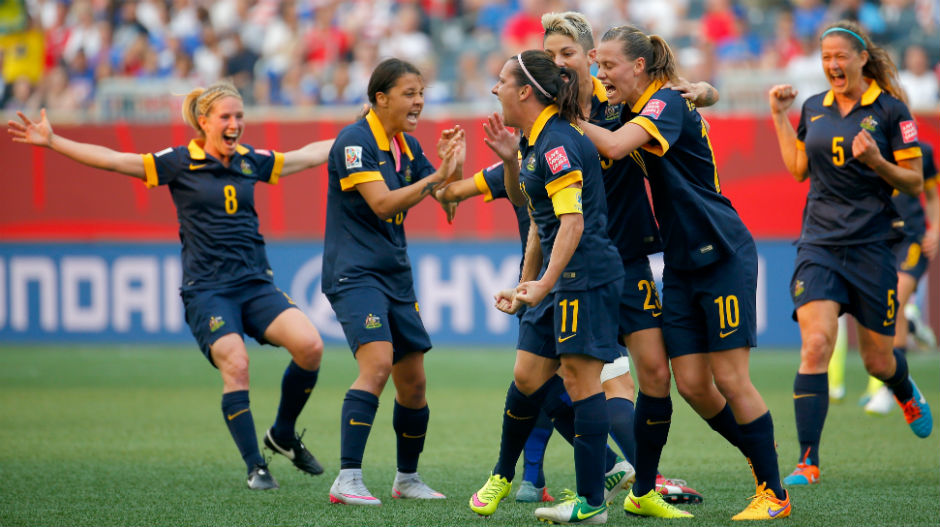The Aussies celebrate Lisa De Vanna's first-half equaliser which saw her join an elite club of players to have scored at three World Cups.