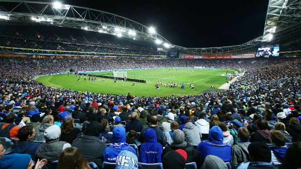 The crowd at ANZ Stadium for Chelsea v Sydney FC
