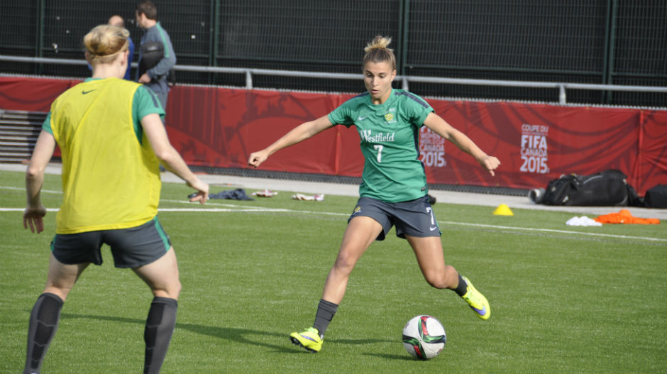 Steph Catley on the ball during a drill.