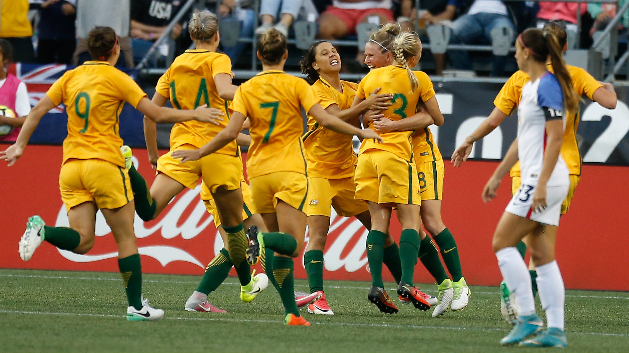 Westfield Matildas players celebrate Tameka Butt's goal in their win over the USA last month.