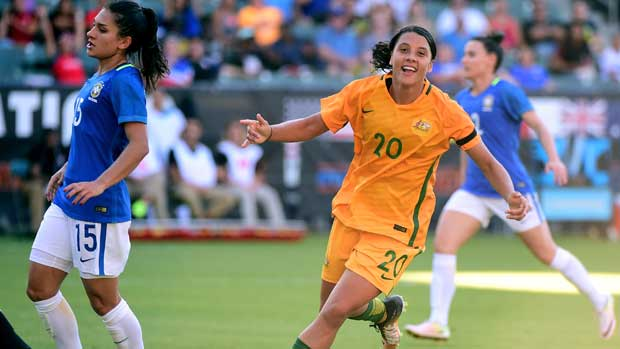 Sam Kerr scored her fourth goal of the tournament as the Westfield Matildas crushed Brazil 6-1 at the Tournament of Nations.
