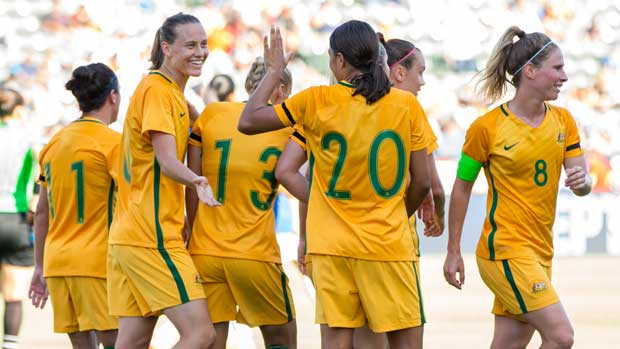 The Westfield Matildas celebrate a goal in their big win over Brazil at the Tournament of Nations.