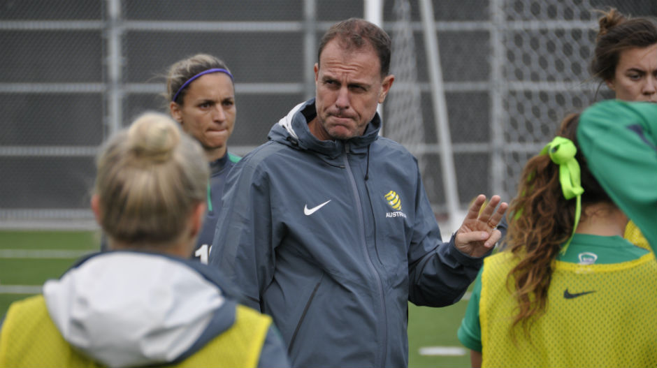 Coach Alen Stajcic taking charge on the training ground.