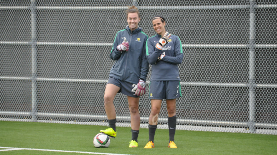 Goalkeepers union members Mackenzie Arnold and Lydia Williams.