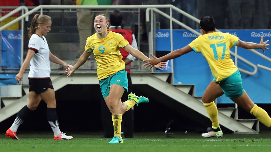Foord celebrates scoring her first goal at the Rio Games.