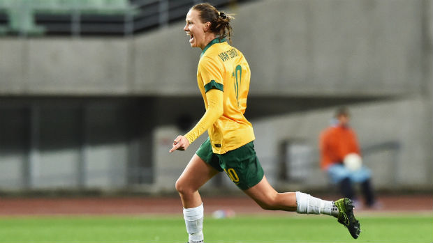 Westfield Matildas midfielder Emily van Egmond celebrates her late goal against China.