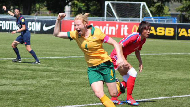 Clare Polkinghorne celebrates opening the scoring for the Westfield Matildas against DPR Korea.