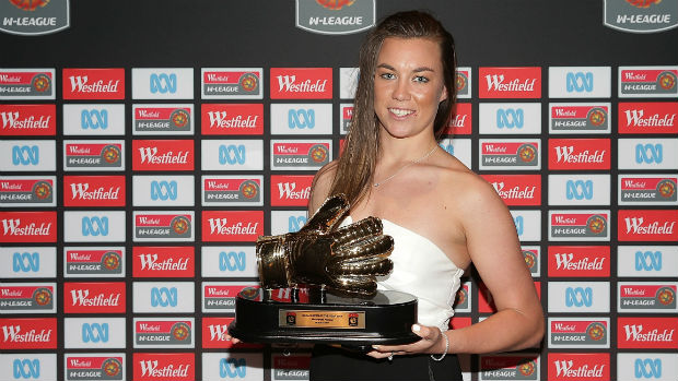 Perth Glory goalkeeper Mackenzie Arnold with her 2014/15 W-League Goalkeeper of the Year Award.