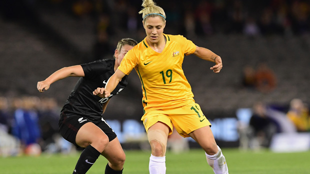 Katrina Gorry on the ball against New Zealand in Melbourne.