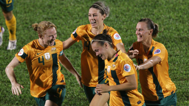 Caitlin Foord celebrates scoring against Japan at the Women's Asian Cup.