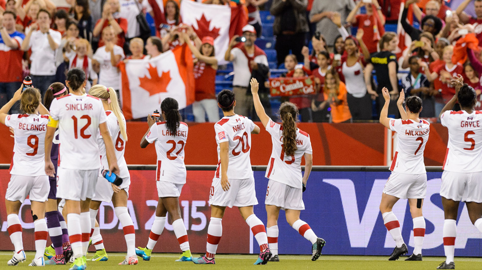 Canada players acknowledge the crowd after their draw with the Netherlands.