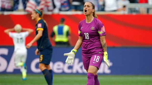 Goalkeeper Melissa Barbieri in action at the recent FIFA Women's World Cup.