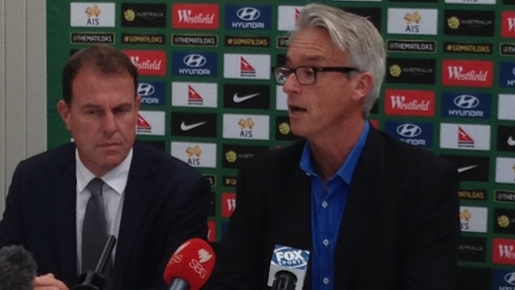 FFA CEO David Gallop and Westfield Matildas coach Alen Stajcic.