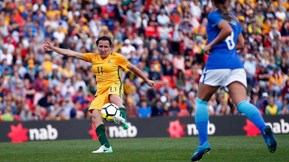 Lisa De Vanna lets fly with a stunning volley to open the scoring for the Westfield Matildas.