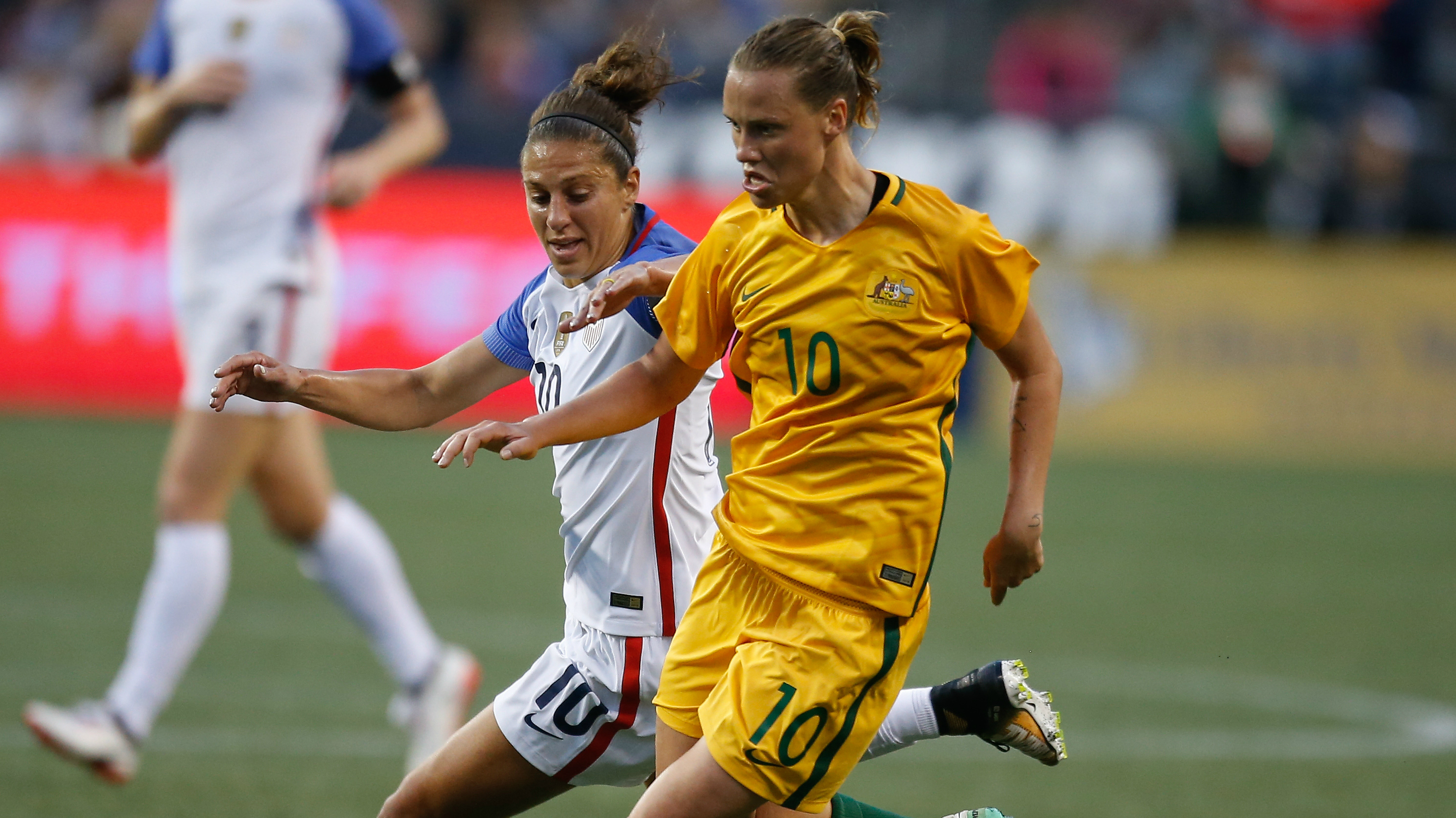Westfield Matildas star Emily van Egmond in action against the USA during the Tournament of Nations.