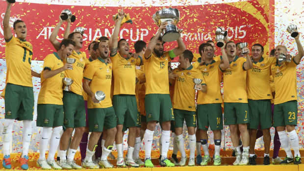The Caltex Socceroos celebrate winning the 2015 AFC Asian Cup on home soil.
