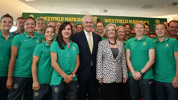 Prime Minister Malcolm Turnbull with wife Lucy and the Westfield Matildas squad.