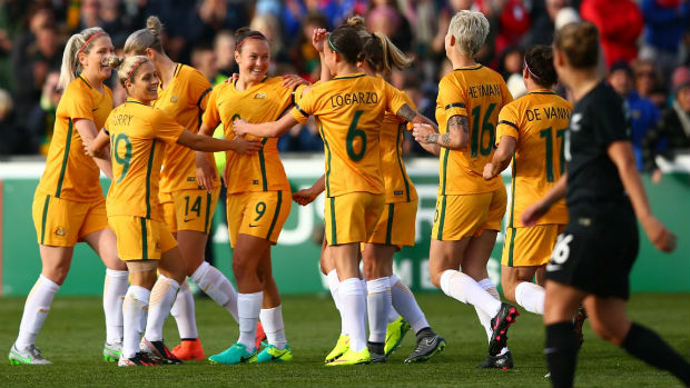 The Westfield Matildas celebrate Caitlin Foord's opener against New Zealand.