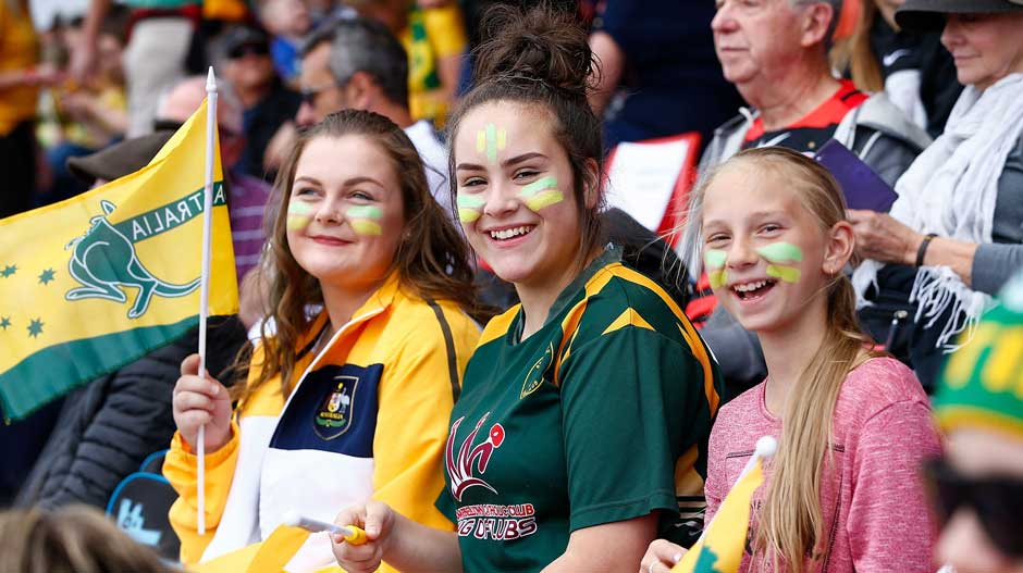 A few fans in the sell-out crowd in Penrith soak up the atmosphere.