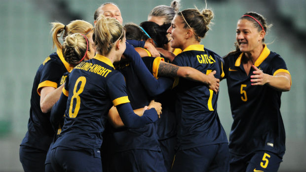 The Westfield Matildas celebrate opening the scoring against Korea Republic.