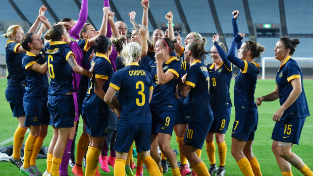 The Westfield Matildas celebrate qualifying for the 2016 Rio Olympics.